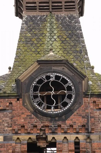 Remains of the clock tower in the Barnes Hospital